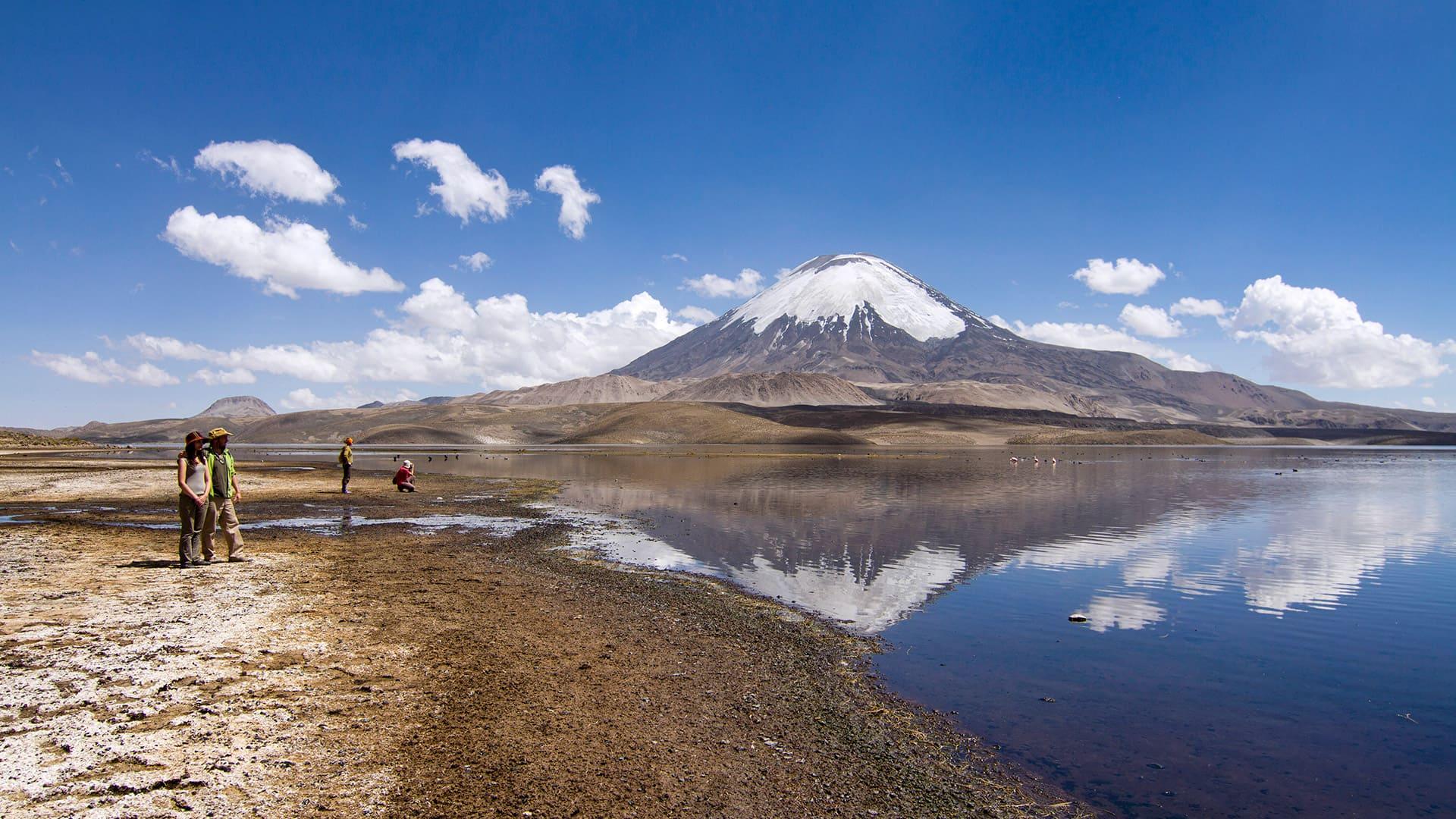 Lago Chungara nevado Parinacota parque nacional Lauca altiplano de Arica y Parinacota